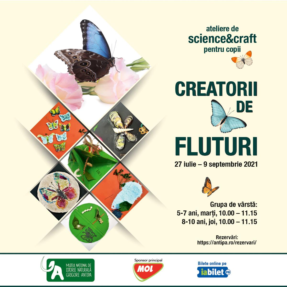 Poster care prezinta atelierul intitulat Creatorii de fluturi